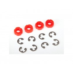 Traxxas Piston, damper (red) (4)/ e-clips (8)