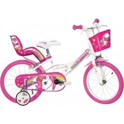 """DINO Bikes - Dětské kolo 14"""" Jednorožec se sedačkou"""