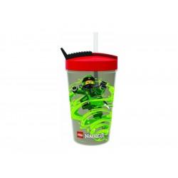 LEGO láhev s brčkem 0.5L - Ninjago šedá