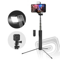 Třínohá selfie tyč s externím přisvětlením (BW-BS8)