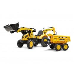 FALK - Šlapací traktor Komatsu s bagrem a Maxi vlečkou