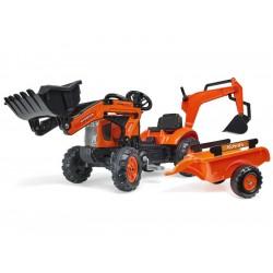 FALK - Šlapací traktor Kubota s nakladačem, rypadlem a...
