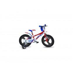 "DINO Bikes - Dětské kolo 14"" červeno/modro/bílé"