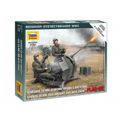 Zvezda Easy Kit German Anti-Aircraft Gun with Crew (1:72)